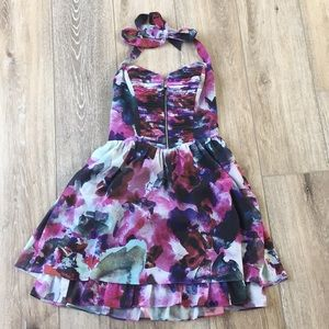 Guess watercolor floral halter dress